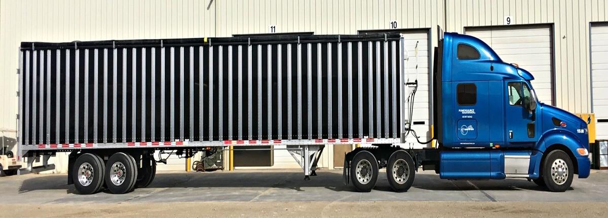 Powersource truck hauling dry van trailer