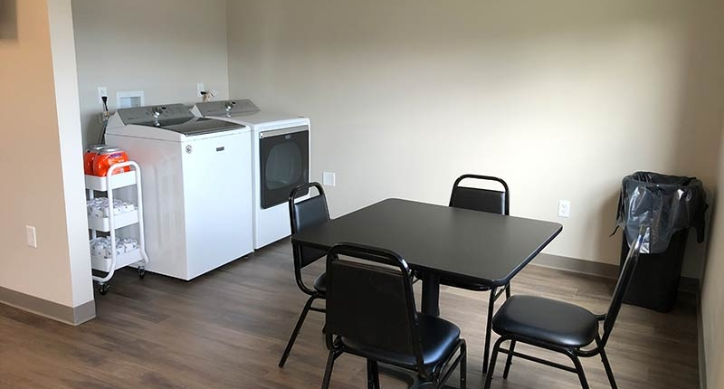 Facility Driver's Lounge, Dining Table and Washer/Dryer