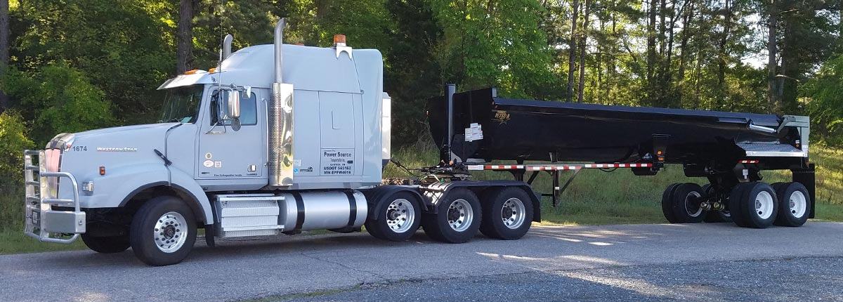 White Cab with Black Dump Trailer