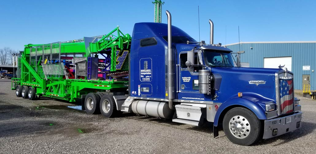 Bright Blue Cab with Bright Green Entertainment Trailer