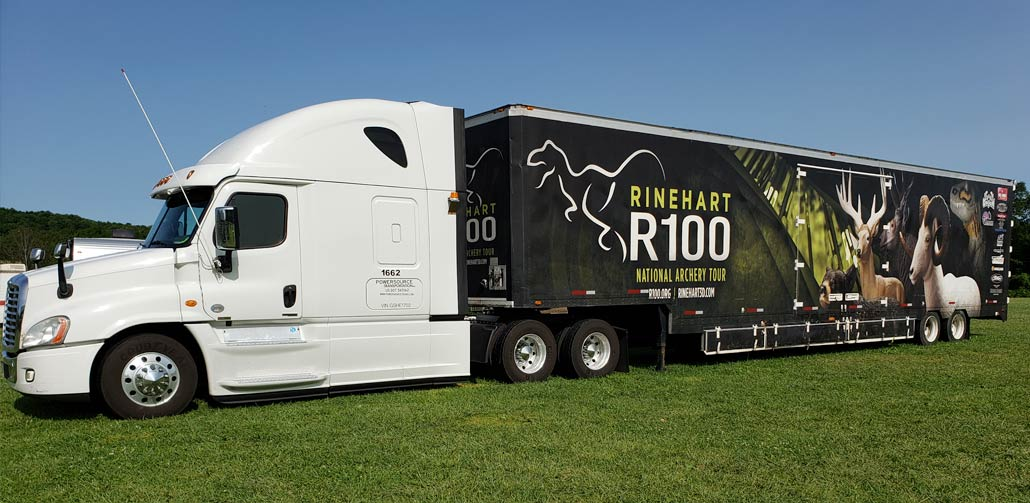 White Cab with Rinehart R100 National Archery Tour Trailer