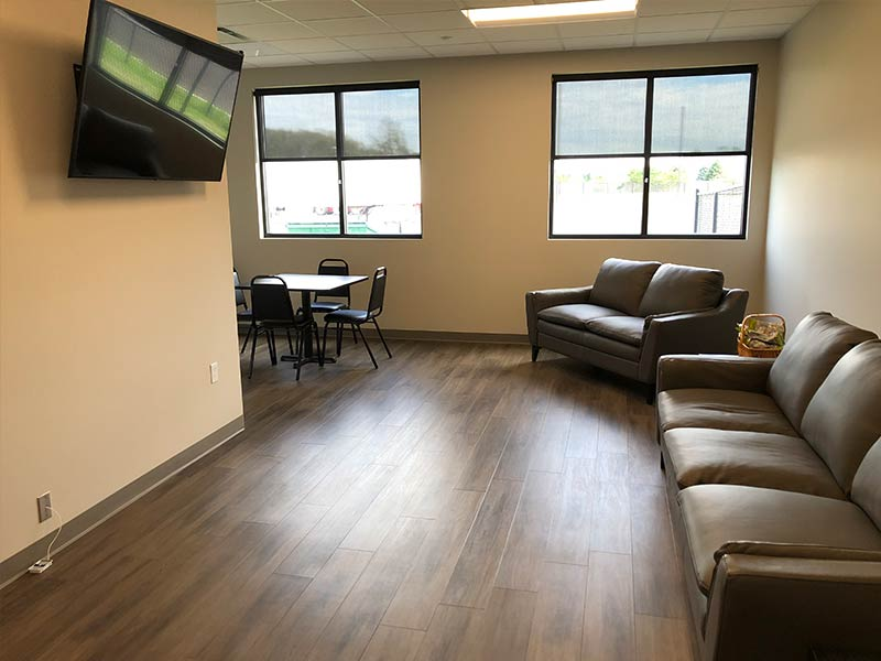 Facility Driver's Lounge, Couches and Big Screen