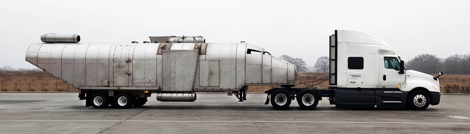 White Cab with Fuselage Trailer