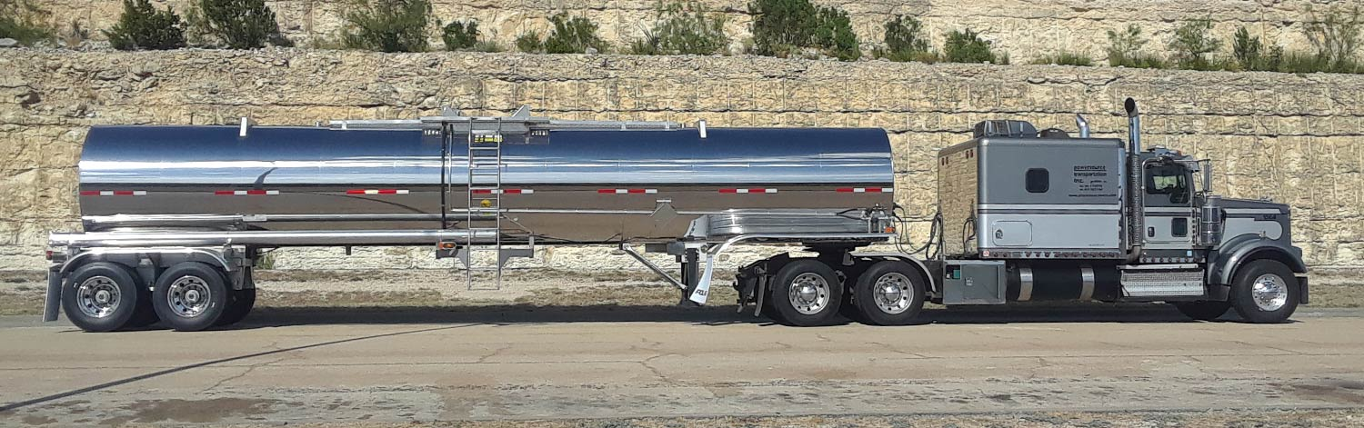 Dark and Light Gray Tractor Cab and Silver Tank Trailer
