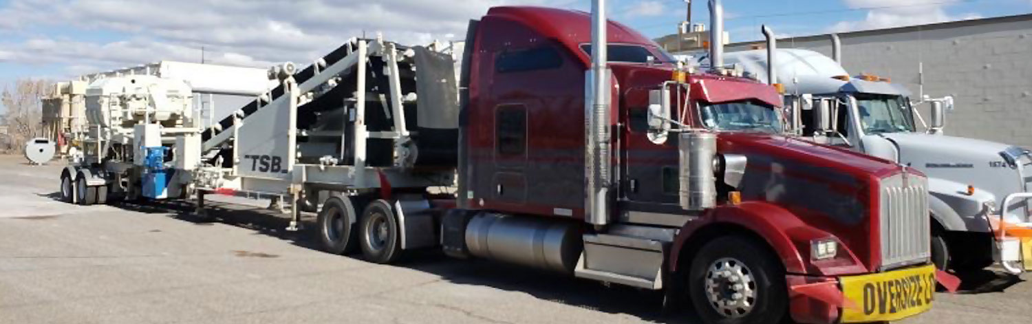 Red Cab with Smaller OD Conveyor Trailer