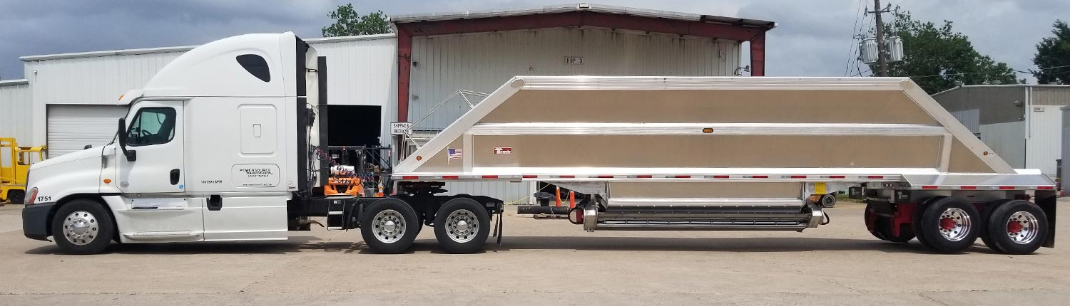 White Tractor Cab with Bulk Trailer